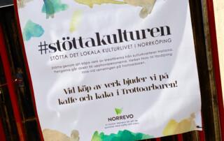 Norrevo stöttar kreatören Johanna Roos initiativ hashtag #stöttakulturen i kvarteret Hallarna.